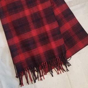 J. Crew Red and Navy Plaid Shawl Scarf